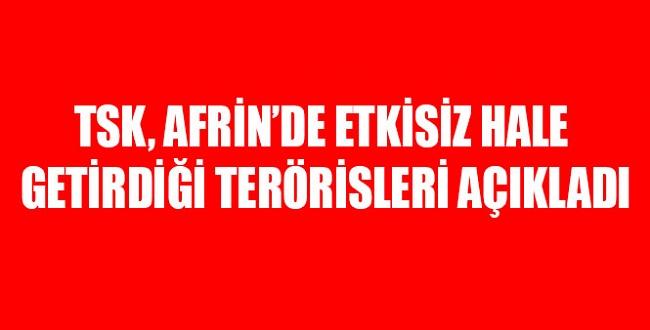 Operasyonun 4. gününde TSK, Afrin'de öldürülen terörist sayısını açıkladı