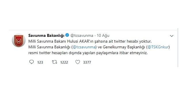 Milli Savunma Bakanlığı'ndan Twitter açıklaması