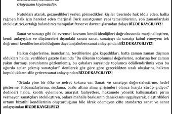 Gezi Parkı eylemlerini destekleyen sanatçılara ilanlı tepki