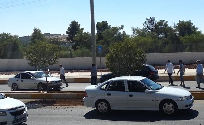 Milli Eğitim Müdürlüğü önünde tehlikeli kaza VİDEO