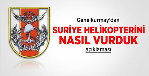 TSK: Suriye helikopteri Türk hava sahasında vuruldu