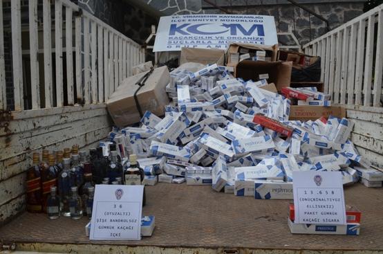 Viranşehir'de kaçak içki ve sigara ele geçirildi