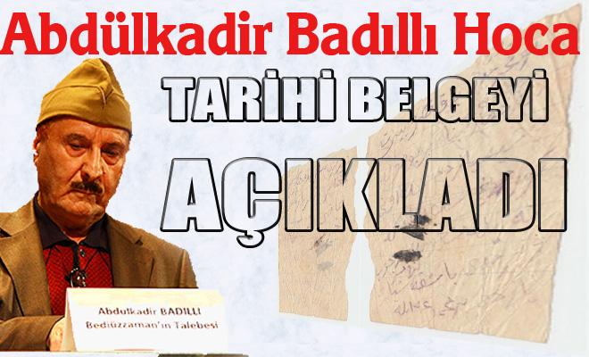 Said Nursi'nin sadeleştirmeyi reddeden el yazısı belgesi