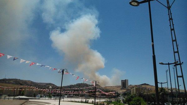 Yangının dumanları şehrin üzerini kapladı
