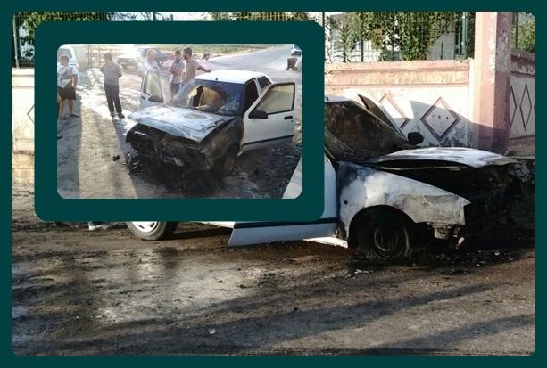 Siverek'te park halindeki otomobil yandı
