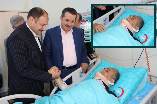 Çelik hastanede yatan Fakıbaba'yı ziyaret etti