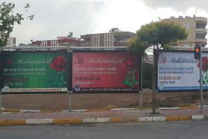 Peygamberler Şehrinden rezil karikatüre karşı sevgi afişleri