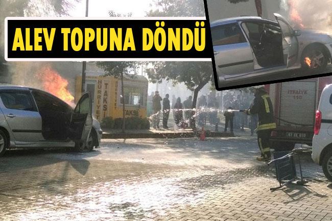 Siverek'te bir otomobil seyir halindeyken alev aldı