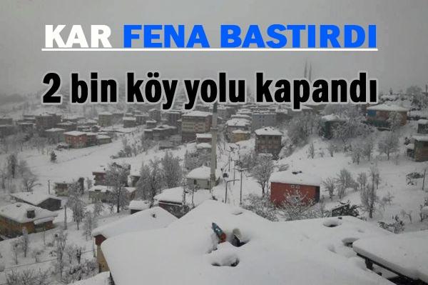 Doğu Anadolu ve Karadeniz'de kardan dolayı 2 bin köy yolu kapandı