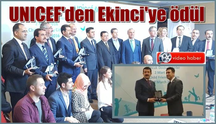 Eyyübiye Belediye Başkanı Mehmet Ekinci'ye UNICEF'den ödül