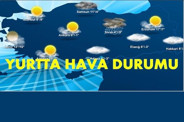 Türkiye genelinde hava durumu: bir çok bölgede yağış bekleniyor