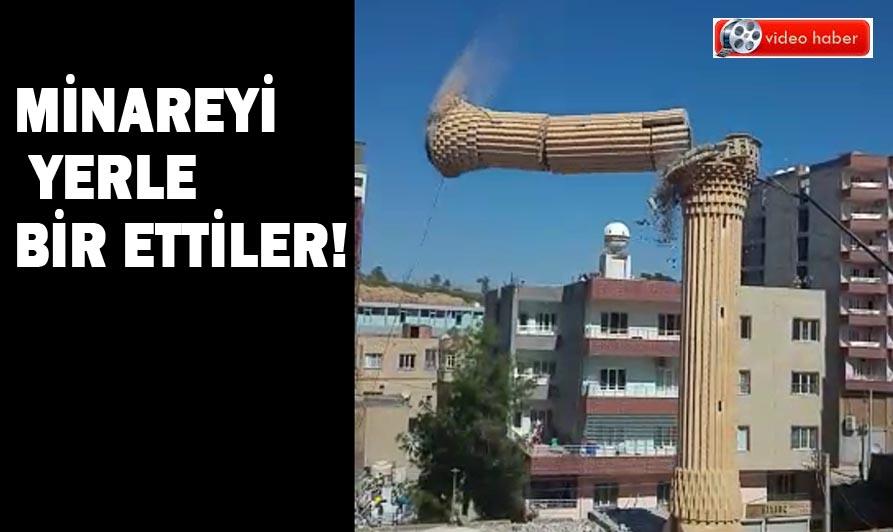 Minareyi yerle bir ettiler! Cami minaresinin yıkılma anı kameralara yansıdı