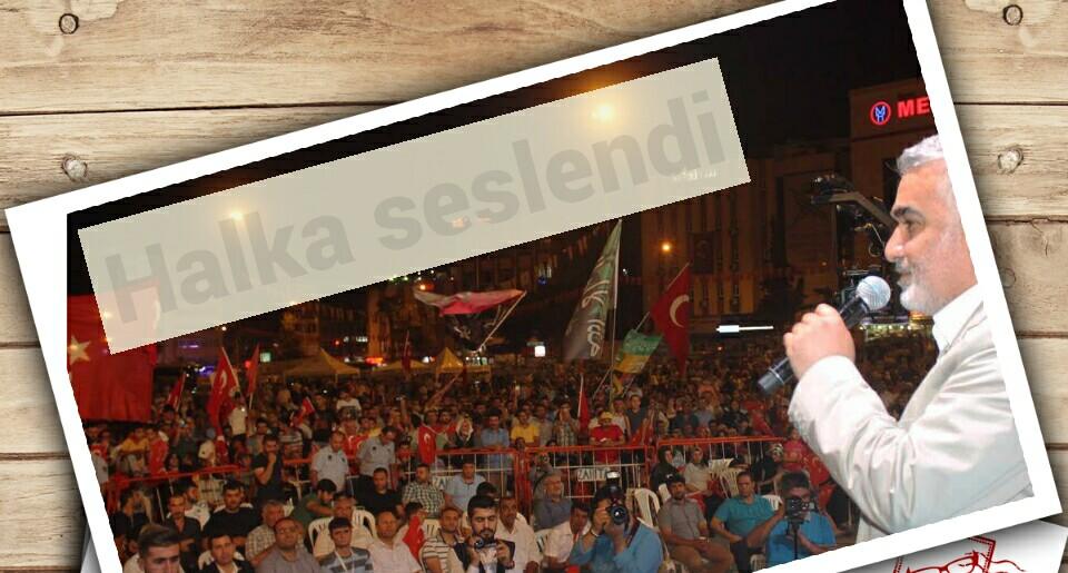 Zekeriya Yapıcıoğlu, Rabia Meydanında Halka Seslendi