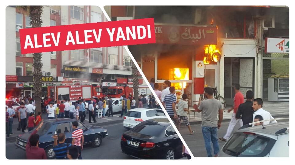 Urfa'da dönerci dükkânı alev alev yandı-GÖRÜNTÜLÜ