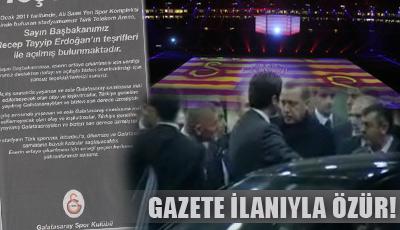 GS, Erdoğan'dan gazete ilanıyla özür diledi