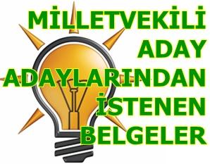 AK Partinin adaylardan istediği belgeler