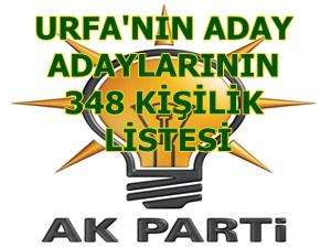 AK Partinin 348 kişilik aday adaylarının isimleri