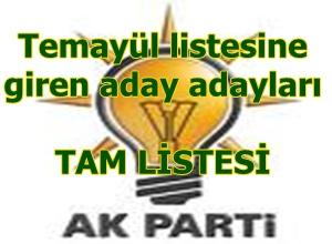AK Parti temayül listesine giren aday adayları