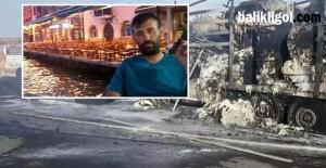 Alevler arasında kalan sürücü hayatını kaybetti