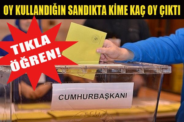 Oy kullandığınız sandıkta kime kaç oy çıktı?