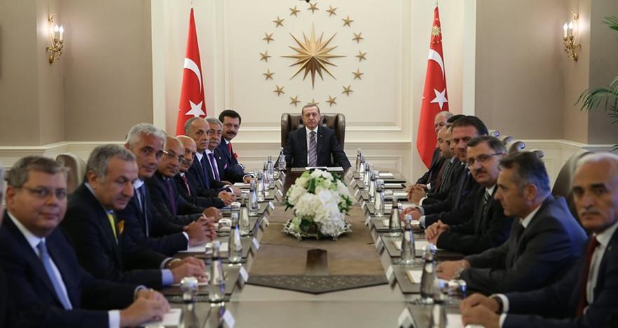 İş adamları ve sendikacılar Cumhurbaşkanı Erdoğan'ı ziyaret etti