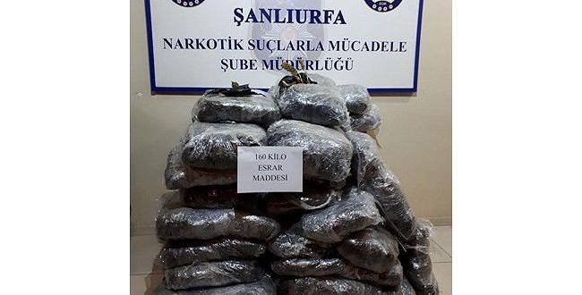 Şanlıurfa'da 160 Kilo Esrar Ele Geçirildi