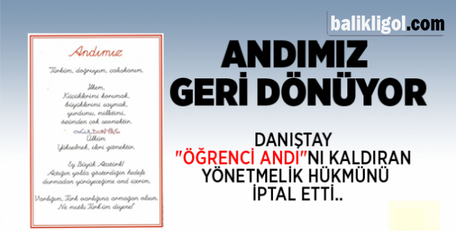 Danıştay'dan Flaş Öğrenci Andı kararına AK Parti'den sert tepki!