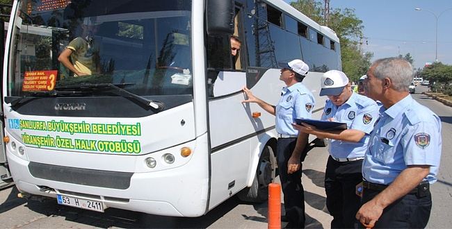 Şanlıurfa Zabıtası Şehir İçi Otobüsleri Denetledi