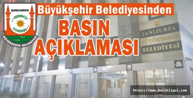 Şanlıurfa Büyükşehir Belediyesinden Kızılay Açıklaması