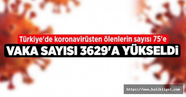 Türkiye'de Vaka Sayısı 3 Bin 629'a Yükseldi, Ölenlerin Sayısı 75'e Yükseldi