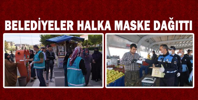 Şanlıurfa'da Belediyeler Halka Maske Dağıttı
