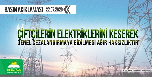 HÜDA PAR'dan Elektrik Kesintileri İçin Sert Açıklama