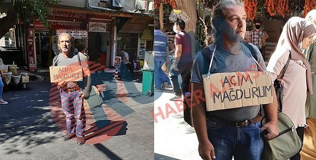 Urfa'da boynuna pankart astı: Açım mağdurum