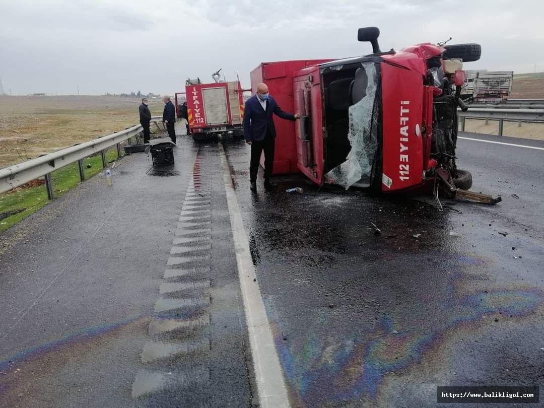 Şanlıurfa'da itfaiye aracı kaza yaptı