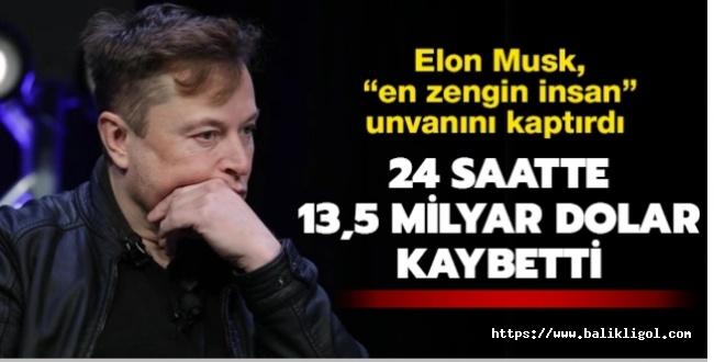 Elon Musk 1 günde 13,5 milyar dolar kaybetti