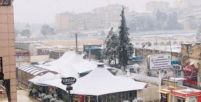 Urfa'da kar yağışı, kent beyazlara büründü