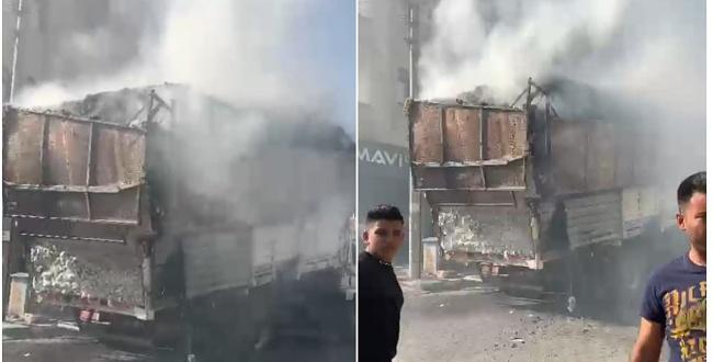 Şanlıurfa'da pamuklu yüklü kamyon yandı