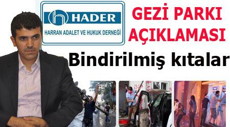 Harran Hukuk Derneğinden Gezi Parkı olaylarına tepki
