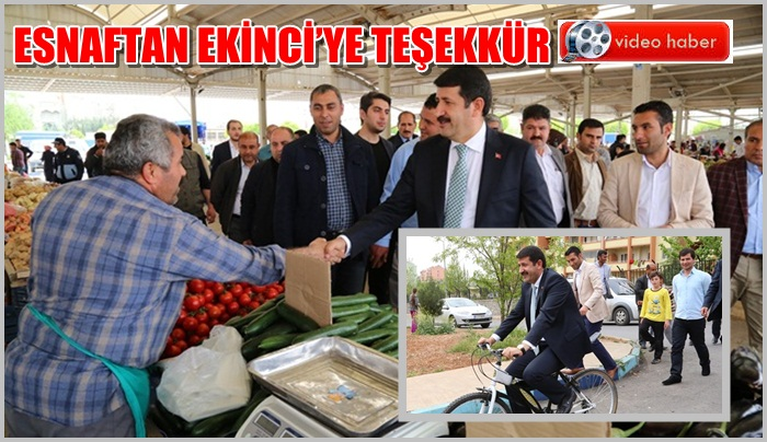 Başkan Ekinci, Esnafı ziyaret etti-çocuklarla bisiklet turu attı