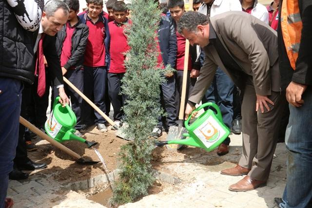 Urfa'da öğrenciler belediye ile ağaç diktiler