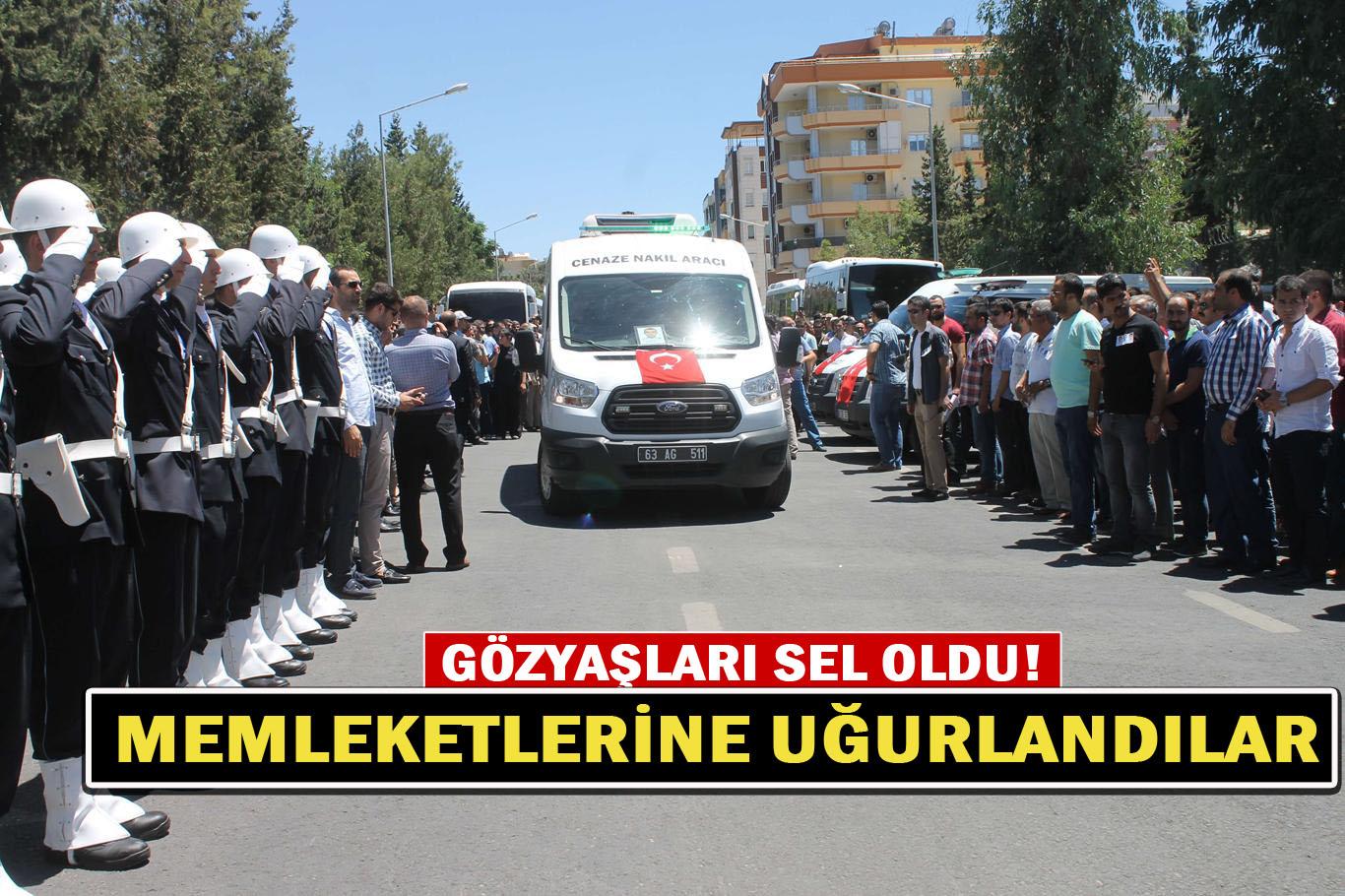 Urfa'da şehit olan polisler son yolculuğuna uğurlandılar