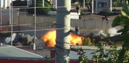 Sınırdaki patlamalar kameraya yansıdı VİDEO
