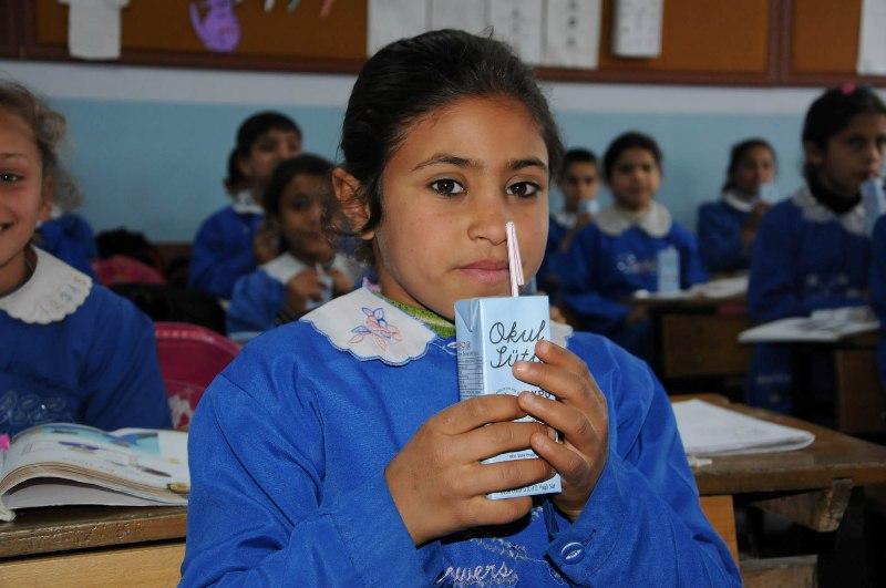 Okulda süt dağıtımı sürüyor